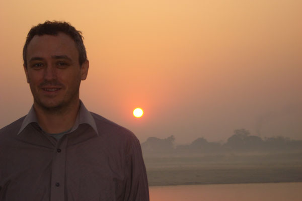 Mark Hallam beside the  Irrawaddy river near Mandalay, Myanmar.