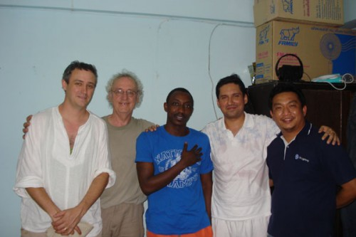 Secretary of SAF Mark Hallam, CEO of SAF Peter Hallam with Asylum seekers in Bangkok.